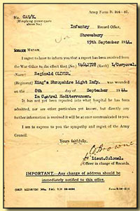 Telegram - Reg Oliver wounded